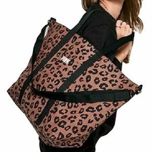 NEW Victoria's Secret Pink cheetah black tote
